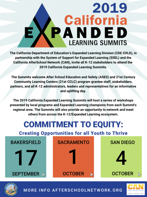 Event flyer for 2019 California Expanded Learning Summits